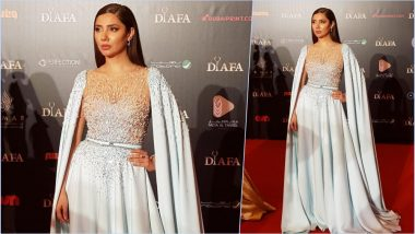 Mahira Khan Is a Caped Superwoman in This Powder Blue La Bourjoisie Gown at DIAFA Awards in Dubai (See Pics and Video)