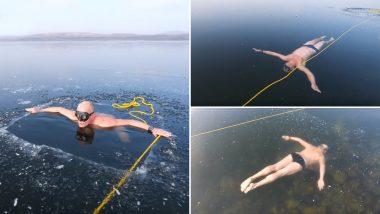 Man Swims Under a Sheet of Ice in Czech Republic's Frozen Lake Milada! (Watch 'Chilling' Video)