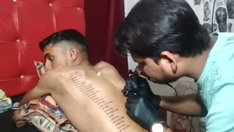 Bikaner Man Tattoos Names of 71 Martyred Soldiers Including Pulwama Terror Attack Jawans and Indian Flag as a Tribute, Watch Video