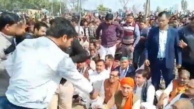 BJP Leaders Called Out, Asked to Remove Shoes by Furious Relatives of Martyr (Watch Video)