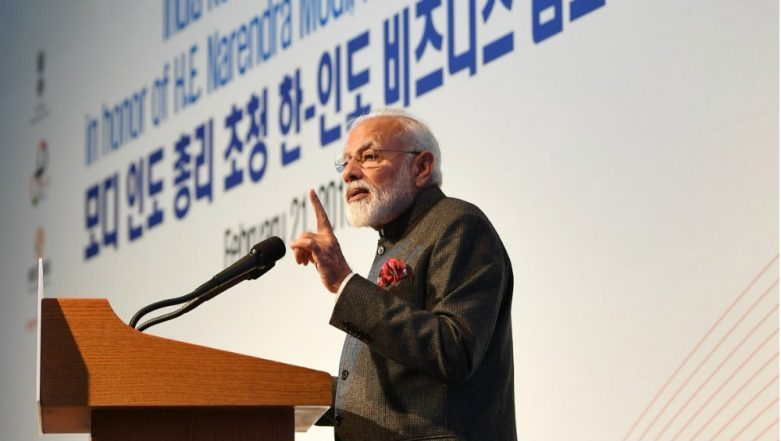 Narendra Modi Unveils Mahatma Gandhi's Bust at South Korean University