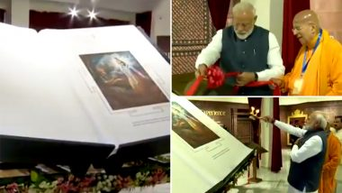 PM Narendra Modi Unveils 800 Kg Bhagavad Gita, Largest In The World, at ISKCON Temple in New Delhi; Watch Video