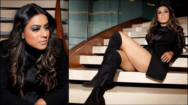 Nia Sharma Beats Mumbai Winter With Her Hot and Sexy All-Black Avatar! See Her Pics in Those Killer Knee-High Boots
