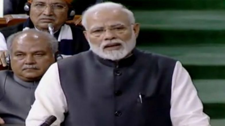 PM Narendra Modi Takes 'Ulta Chor Chowkidaar Ko Daante' Jibe At Congress, Lists NDA Govt's Achievements During Vote Of Thanks Speech in Lok Sabha, Watch Video