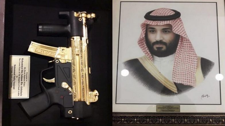 Saudi Crown Prince Mohammed Bin Salman Gifted A Gold-Plated Machine Gun By Pakistani Senators