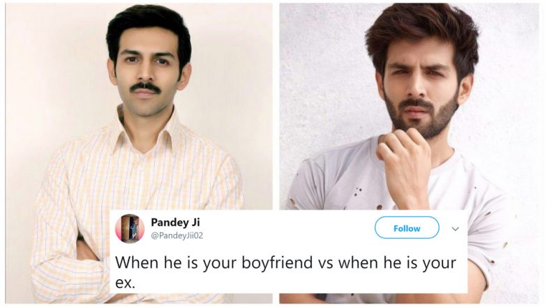 Kartik Aaryan's 'Pati, Patni aur Woh' Look Gets Hilariously Trolled on Social Media, Check Funny Tweets With Memes and Jokes