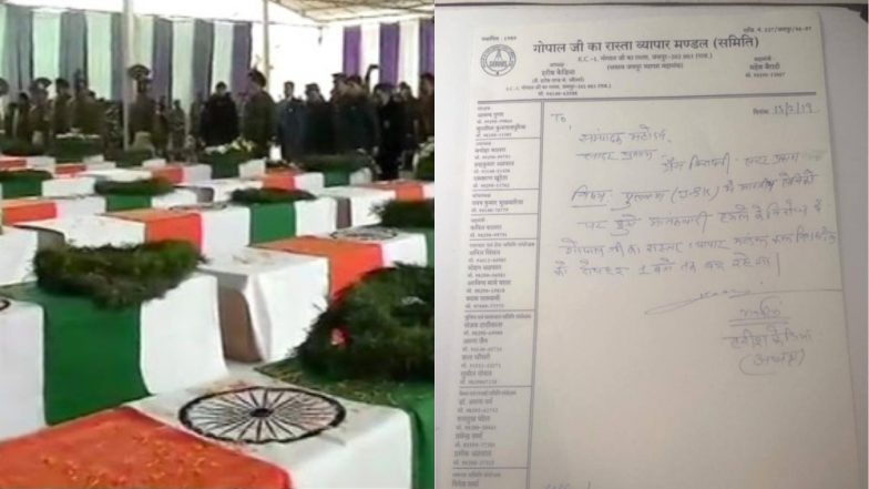 Pulwama Terror Attack: Message to Observe Bharat Bandh to Pay Tribute to CRPF Martyrs Goes Viral, Trader Association Calls Complete Shutdown in Jaipur