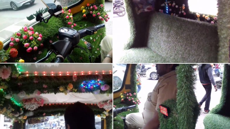 Pune Man Covers His Auto Rickshaw With Grass and Flowers to Beat The Heat, Watch Video