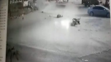 Tamil Nadu: Speeding Car Rams Biker in Coimbatore, Watch Accident Video