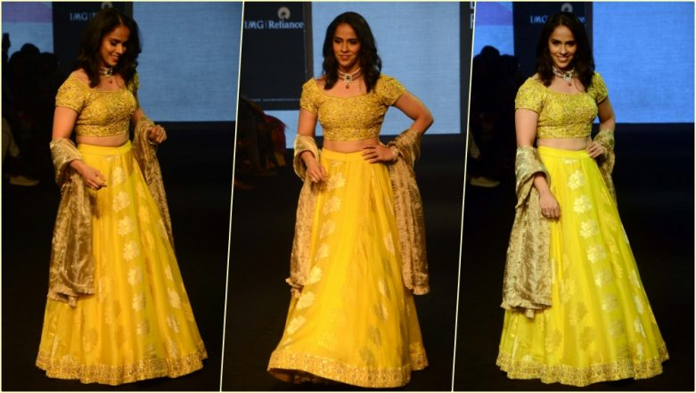 LFW 2019: Saina Nehwal Glows in Yellow Vaani Raghupathy 'Lehenga Choli' at Lakme Fashion Week (See HD Pics)