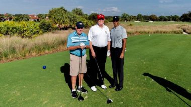 Donald Trump Plays Golf With Tiger Woods, Jack Nicklaus in Florida at Trump National Golf Club