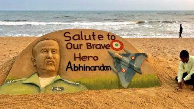 Sand Art Salute to IAF Wing Commander Abhinandan Varthaman by Sudarsan Pattnaik; See Pic