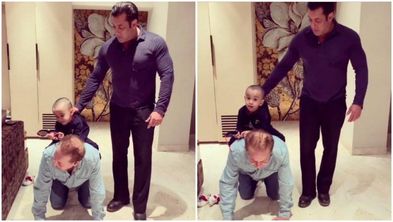 Salman Khan and Salim Khan are on a Duty to Take Ahil Sharma on a Piggy Back Ride! (Watch Video)