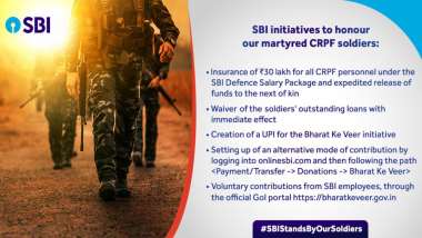 After Enabling UPI Bharatkeveer@sbi for Donations, SBI Waives Off Loan of 23 CRPF Soldiers Martyred in Pulwama Attack
