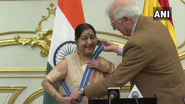 Sushma Swaraj Conferred With 'Grand Cross of Order of Civil Merit' Award in Spain For Helping Spanish Nationals During 2015 Nepal Earthquake