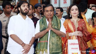 Mukesh Ambani, Nita Ambani and Son Anant Visit Siddhivinayak Temple to Offer Son Akash's Wedding Card! View Pics & Video