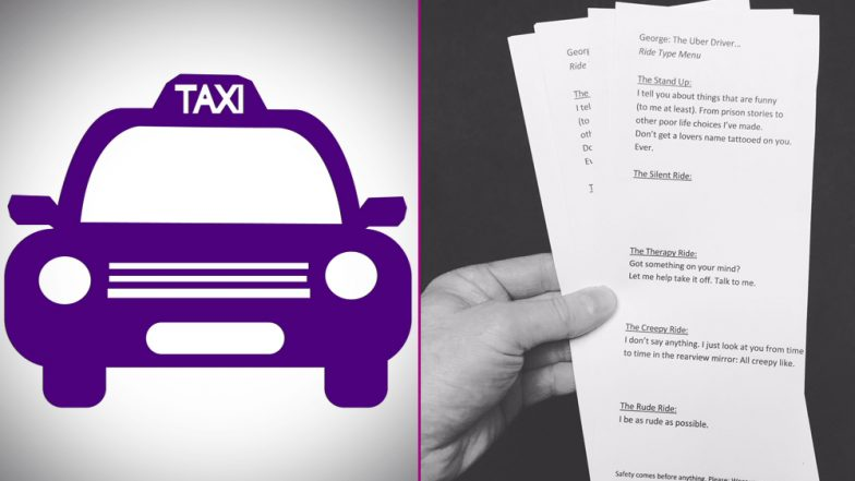 From Creepy to Therapy, Uber Driver Let's Passengers Choose 'Type of Ride' From Menu Card; Netizens Impressed