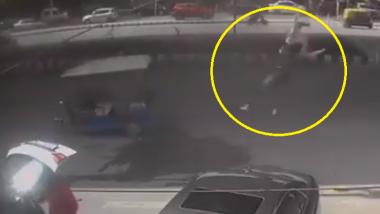 Delhi Shocker: Woman on Bike Thrown off 50 Feet in Air, Survives; Watch Video