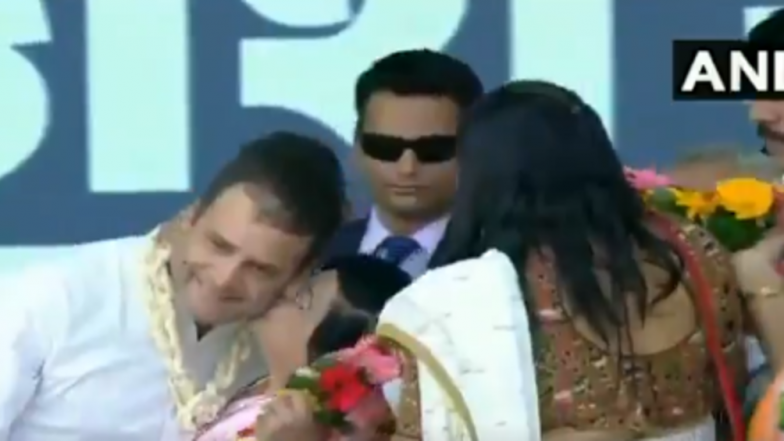On Valentine's Day, Rahul Gandhi Gets Kiss From Woman on Stage During Rally in Valsad, Watch Video