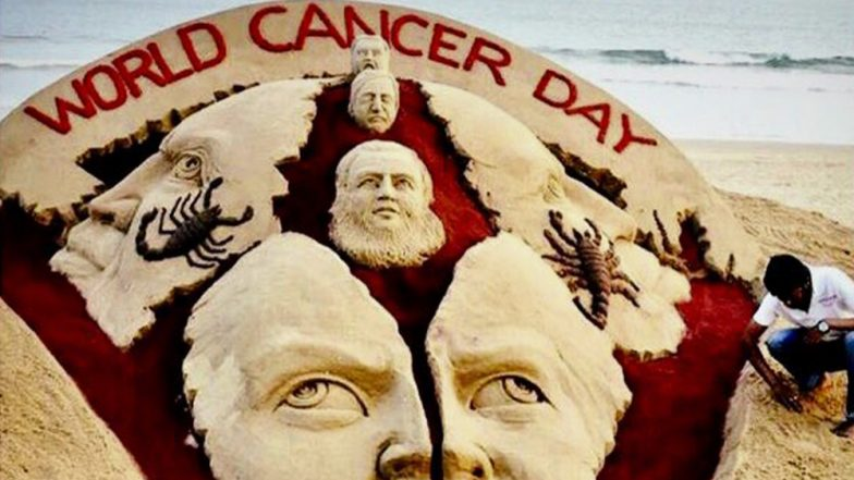 World Cancer Day 2019: Sudarshan Pattnaik Creates Sand Art to Raise Awareness About Cancer at Odisha Beach
