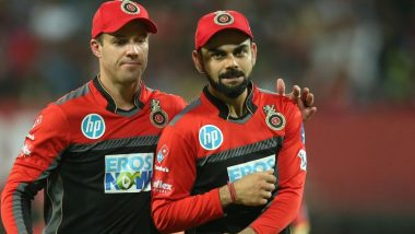 Poster of AB de Villiers and Virat Kohli Showered with Milk by RCB Fans Ahead of IPL 2019 to Celebrate South African Batsman's Birthday (Watch Video)