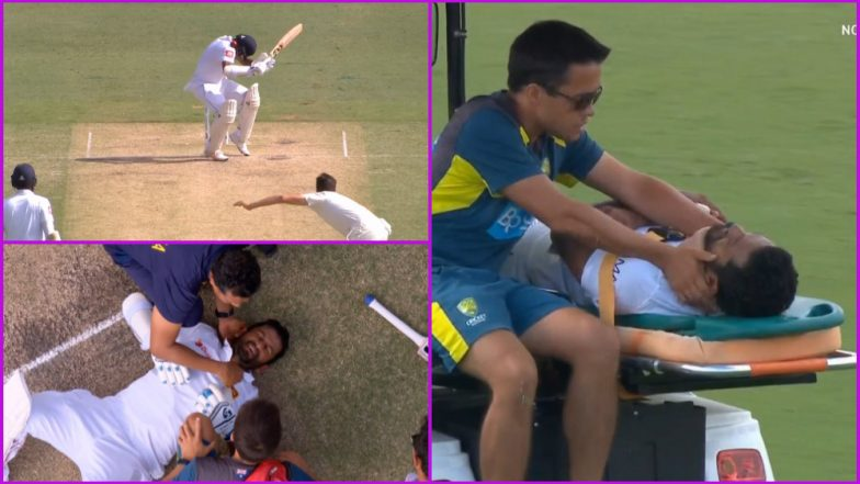 Dimuth Karunaratne Injury Update: Sri Lankan Opener Hit on Neck by a Bouncer During AUS vs SL 2nd Test, Admitted to Hospital; Watch Video