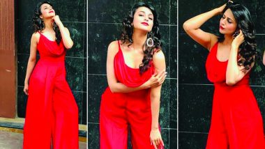 Hotness Alert: Divyanka Tripathi Looks Sizzling In A Red Cowl Neck Jump Suit!