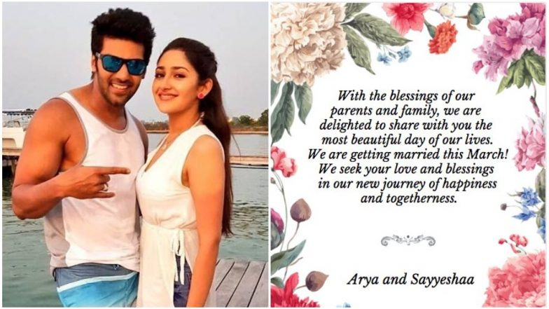Sayyeshaa Saigal and Arya Confirm Their March Wedding in a Twitter Post on the Occasion of Valentine's Day – View Pics