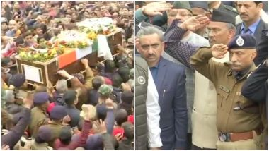 Major Chitresh Singh Bisht Funeral: Last Respects Accorded to Army Martyr in Dehradun Amid 'Amar Rahe' Slogans, Uttarakhand CM Pays Final Tribute; Watch Video