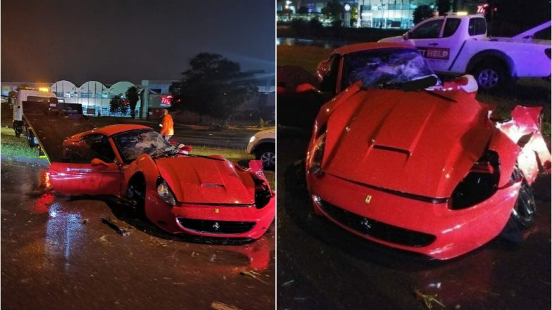 Ferrari California Ripped into Two after Smashing into Street Pole in Johannesburg (See Pics)