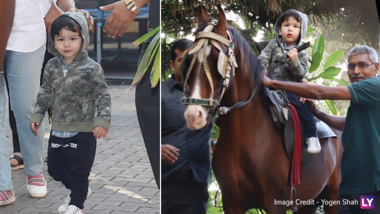 Taimur Ali Khan Steps Out to Enjoy a Horse Ride But It's His Cute Hoodie That Gets All Our Attention - View Pics