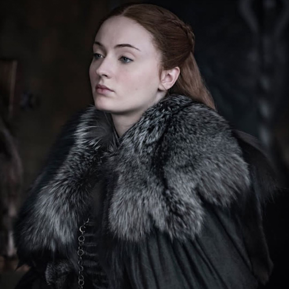 Sophie Turner as Sansa Stark.