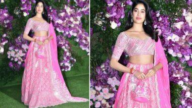 Janhvi Kapoor Dazzles in a Rose Pink Manish Malhotra Creation at Akash Ambani and Shloka Mehta Wedding - View Pics