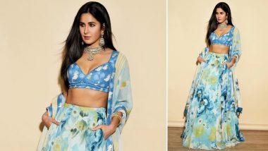 Katrina Kaif Ditches the Usual 'Red and Gold' and Picks a Cool Blue Attire for Akash Ambani and Shloka Mehta Wedding - View Pics