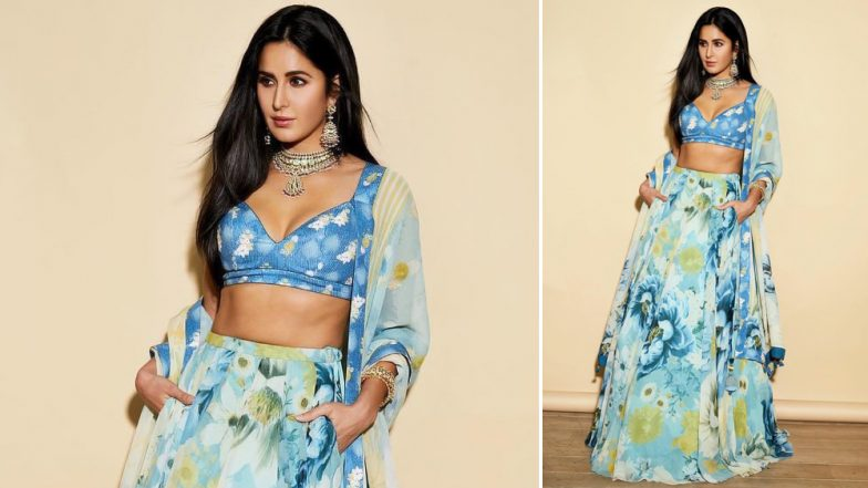Katrina Kaif Ditches the Usual 'Red and Gold' and Picks a Cool Blue Attire for Akash Ambani and Shloka Mehta Wedding - View Pics