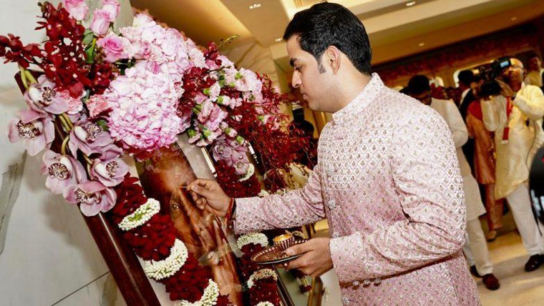 Akash Ambani Remembers Grandfather Dhirubhai Ambani Ahead of Wedding With Shloka Mehta (View Pics)