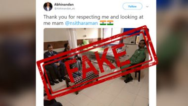 Fact Check: IAF Wing Commander Abhinandan Thanking Nirmala Sitharaman on Twitter For 'Looking at Him' is a Fake Account