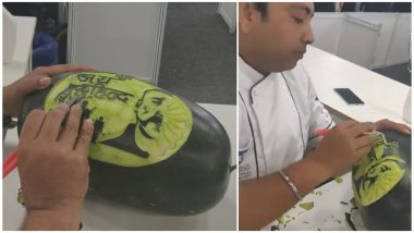 IAF Hero Abhinandan Varthaman's Face Carved Out on Watermelon by Chef at Culinary Art India, Watch Video