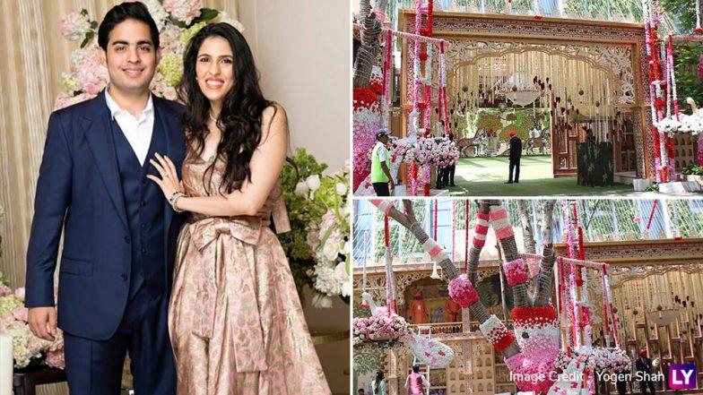 Akash Ambani-Shloka Mehta Wedding Decoration Pics: Antilia Decked Up, Marriage Ceremony to Take Place at Jio World Centre in Mumbai's BKC