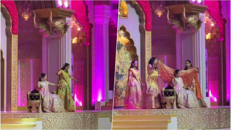 Akash Ambani-Shloka Mehta's March 9 Wedding: Bride-To-Be Dances on 'Din Shagna Da' With Mother and Sisters on Her Mehandi Ceremony (Watch Video)