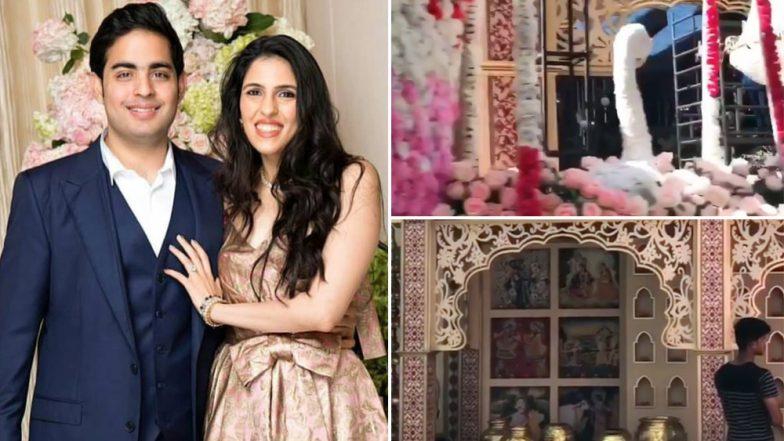 Akash Ambani-Shloka Mehta Wedding Preparations: The Larger Than Life Set, Floral Arrangements, Turns Antilia Into a Visual Beauty – See Pics