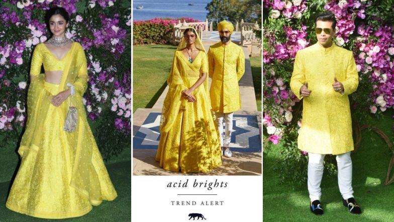 Alia Bhatt and Karan Johar Twinning in Yellow Sabyasachi Ensembles at Akash Ambani-Shloka Mehta Wedding Ceremony (View Pics)