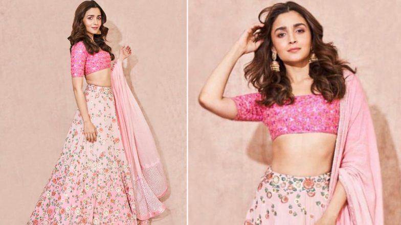 Alia Bhatt Looks Like a Princess in a Pink Manish Malhotra Lehenga at Akash Ambani-Shloka Mehta's Pre-Wedding Ceremony (View Pics)