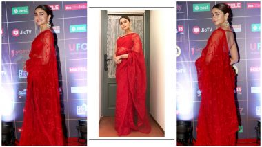 Alia Bhatt Looks Gorgeous In a Bold Red Saree by Sabyasachi as She Attends News18 Reel Movie Awards 2019 (View Pics)