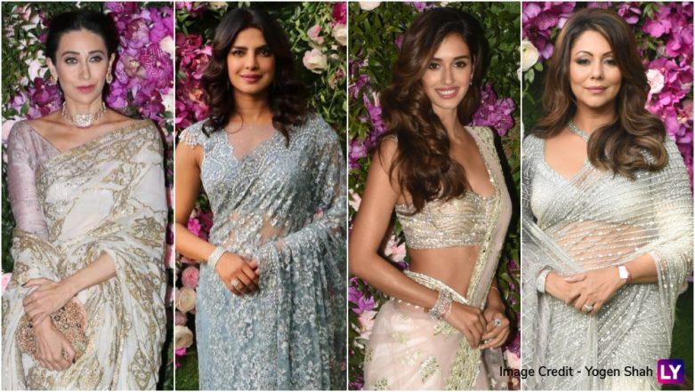 Priyanka Chopra, Disha Patani, Gauri Khan, Karisma Kapoor -  All The Desi Girls In Dazzling Sarees At Akash Ambani And Shloka Mehta's Wedding!