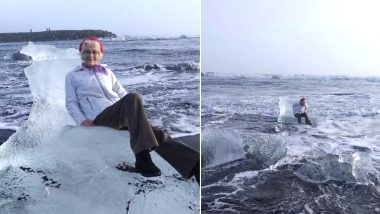 American Grandmother Posing on Iceberg Tossed by The Wind to Sea; Her 'Misadventure' Pictures Go Viral