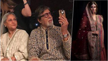 Shweta Bachchan Nanda Walks for Abu Jani and Sandeep Khosla, Video of Proud Father Amitabh Bachchan Capturing Her Catwalk on Mobile Phone Goes Viral