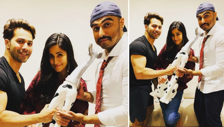 LOL! Varun Dhawan and Arjun Kapoor Start a 'We Love Katrina Kaif' Fan Club by Presenting the Actress With a Dalmatian Trophy - View Pic