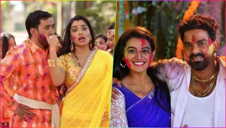 Holi 2019 Bhojpuri Songs: Amrapali Dubey, Nirahua, Akshara Singh, Pawan Singh & Others Present the Most Colourful Holi Videos & Songs Jukebox