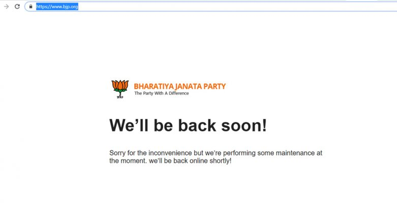 BJP Website www.bjp.org Continues To Be Down On Day 2 After Being Hacked; Congress Says 'Happy To Help If You Need'